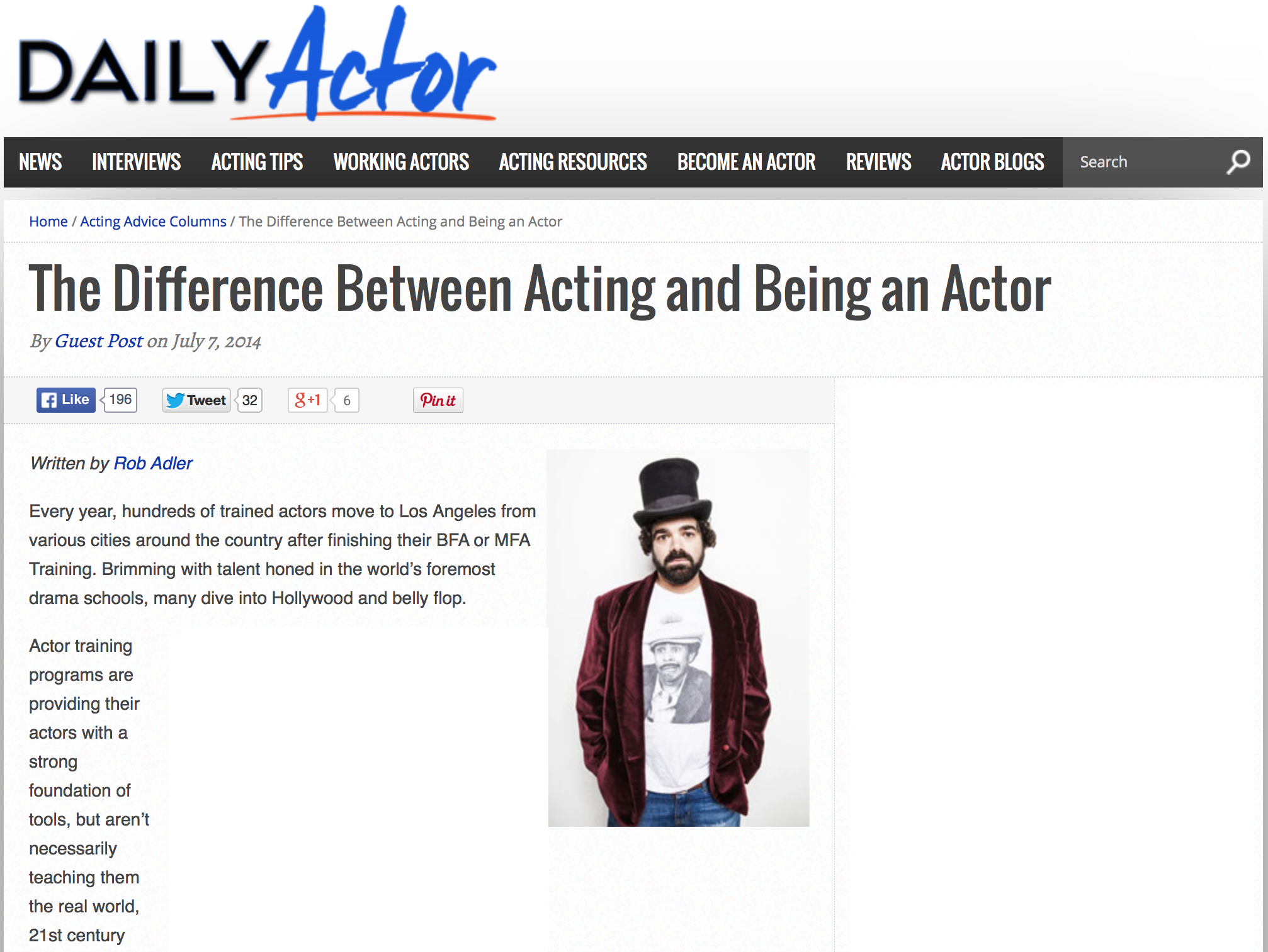 Acting vs. Being an Actor