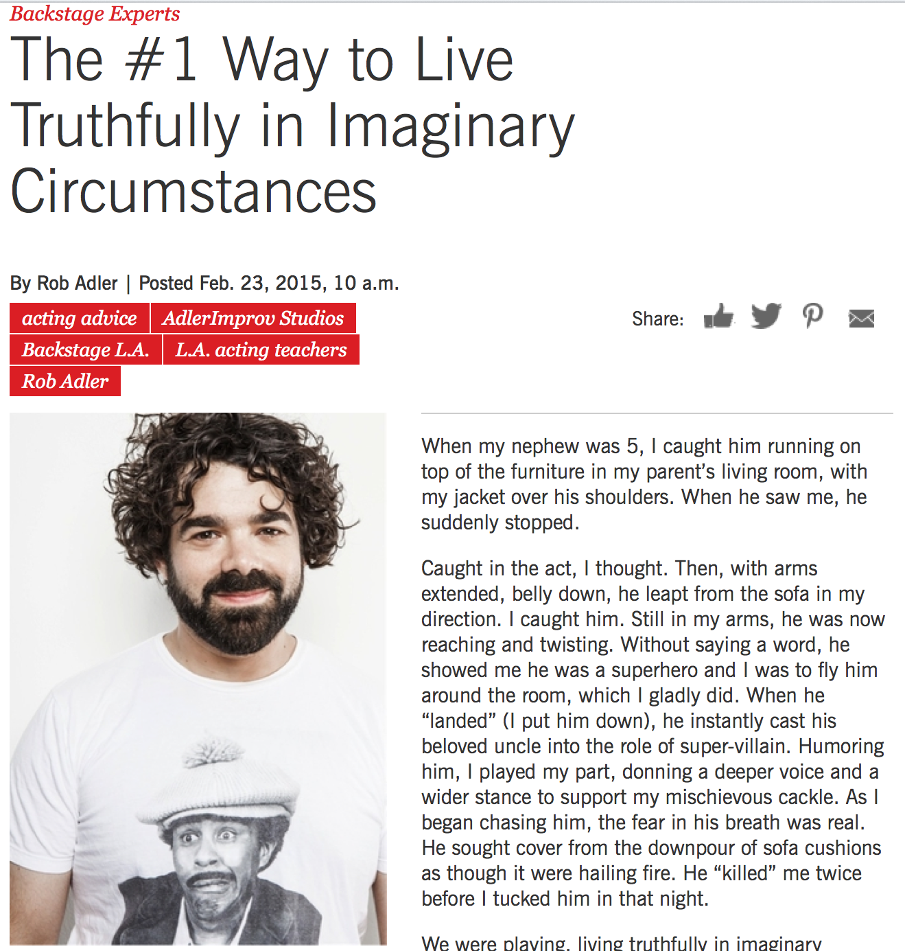Living Truthfully in Imaginary Circumstances