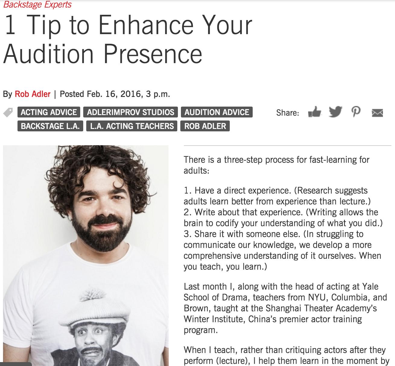 Rob Adler - Backstage - One Tip to Enhance Audition Presence